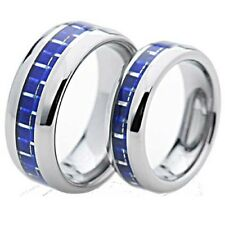 Silver Tungsten His & Hers Engagement Wedding Band Ring Sets Blue Carbon Fiber