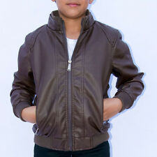 Boys' Faux Leather Jacket - faux leather jacket sherpa lining kids black / brown