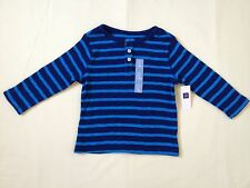 NWT BABY GAP BOY'S BLUE HENLEY STRIPE THERMAL TEE 100% COTTON