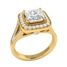 1.50 ct Princess Cut D/VVS1 Wedding Engagement Ring Sizable Solid Gold Jewelry