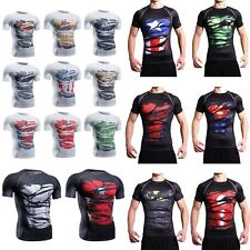 White Black Marvel Superhero Compression  Men's T-shirt Sport Gym Cycling Jersey