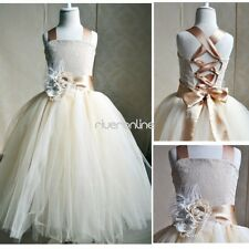 Flower Girl Kids Tulle Dress Straps Party Pageant Wedding Bridesmaid Ball Gown