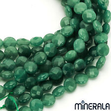 [1+1 AT 30% OFF] NATURAL GREEN AVENTURINE GEMSTONE FACET COIN BEADS 15'' STRAND