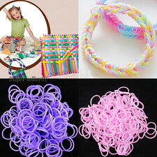 DIY Kits New Rainbow Rubber Bands Loom Refill Bracelet Hand 600pcs 24Clips