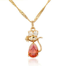18K Gold Plated Multicolor crystal Cute Cat Pendant for Long Chain Necklace