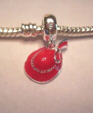AUTHENTIC .925 Silver Red Hat Society Dangle for Charm Bracelet USA Seller