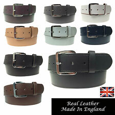 """MENS WOMENS 1.5"""" REAL LEATHER GENUINE MADE IN ENGLAND JEANS 40MM WIDE BELT"""