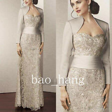 Column Sheath Lace Mother of Bride Evening Party Gowns Long Sleeve Dress Suits