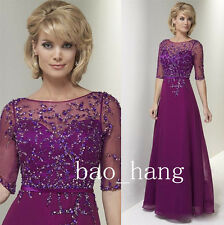 A Line Beaded Mother of Bride Dress Fuchsia Half Sleeve Evening Party Ball Gowns