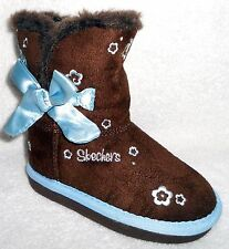 NEW SKECHERS CHOCOLATE FAUX SUEDE LINED BROWN GIRLS BOOTS WITH BOW 5 Toddler