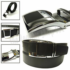 Stylish 40mm Mens Black Fashion Flat Silver Buckle Trouser and Jeans Belt YC004