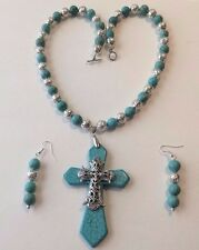 HOWLITE TURQUOISE CROSS PENDANT WESTERN NECKLACE SET