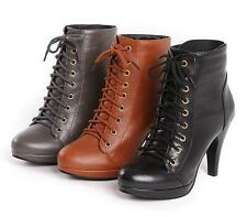 2017 New Womens Platform Round Toe Stilettos High Heel Lace Up Ankle Boots Shoes