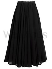Black Elasticated High Waist Long Flared Chiffon Maxi Skirt