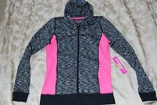 NWT Womens L Anne Cole LOCKER $98 Black Pink Hooded Shirt Top Hoodie Sweatshirt