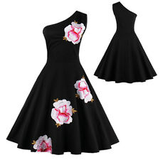 Sexy Women Vintage One Shoulder Floral Swing Evening Party Prom Ball Gown Dress