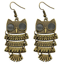 Adorable Animal Owl Vintage Style Bronze Drop Dangle Earrings Costume Jewelry