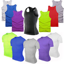 Mens Sports Compression Base Layer Tights Skin Bodybuilding Vest Top Tee T-Shirt