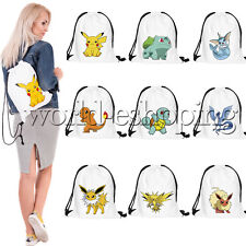 Pokemon Go Drawstring Backpack School Tote Bag Sports Pack Cinch Sack Gym Bags