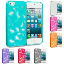 TPU 3D Color Butterfly Flower Rubber Skin Case Cover for Apple iPhone SE