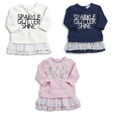 Baby Babies Girls Tunic Top Sparkle Cotton Party Outfit Top Lace Trim BABYTOWN