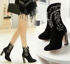 Embroidery Floral rhinestone Womens Suede Block High Heels Shoes Ankle Boots New
