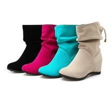 Hot Womens New Faxu Suede Round Toe Chelsea Boot Wedge Heels Pull On Ankle Boots