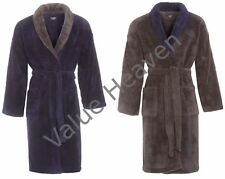 Mens Luxury Coral Thick Fleece Dressing Gown Robe Shawl Collar Navy Blue Grey