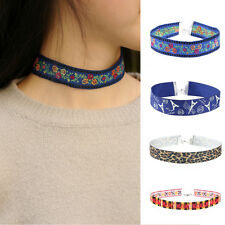 Women Collar Ethnic Embroidery Lace Necklace Bohemian Flower Choker Jewelry JUS