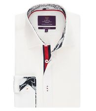 Hawes & Curtis Mens Long Sleeve Slim Fit Shirt With Contrast Detail Single Cuff