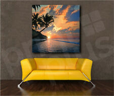 Seascape Sea Beach Sunset Palm Trees Canvas Art Poster Print Home Wall Decor