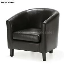 Lounge Tub / Barrel Design Brown Leather Club Cocktail Chair Black/Brown N5H1