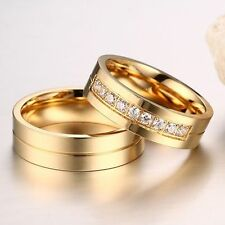 Love AAA CZ 18K Gold Plated Cubic Zirconia Wedding Band Ring Stainless Steel