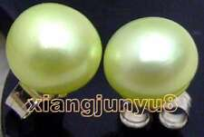 SALE small 7-8mm light green Flat  Natural Freshwater Pearl stud Earring-ear361