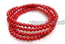 "SALE Beautiful! Small Round natural Red 5-6mm coral 30"" bracelet/Necklace-bra298"