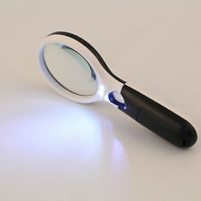 3 LED Light 5X/ 45X Handheld Magnifier Reading Magnifying Glass Jewelry Loupe DW