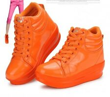 Hot Womens shining high top wedge platform lace up sneakers high top Sport Shoes