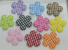 30 x Padded Gingham Flower Appliques 25mm A030 U pick