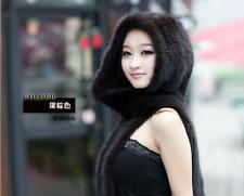 New Genuine Mink Fur Scarf Cape Stole Shawl Wraps Hat Knitted Women Coat FRE4544