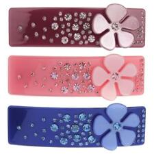 Fashion Floral Crystal Rhinestone Hair Barrette Hairclip Rectangular Headwear