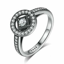 925 Sterling Silver Cubic Zirconia Wedding Promise Fashion Bling Rings Size 6-8