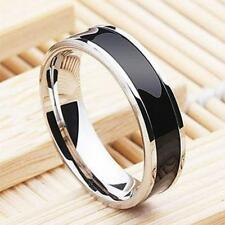 Black Silver Stainless Steel Men Wedding Rings Cool Band Ring Size 5-13