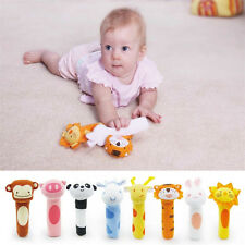 Cute Soft Sound Animal Handbells plush Squeeze Rattle For Newborn Baby Toy Gift