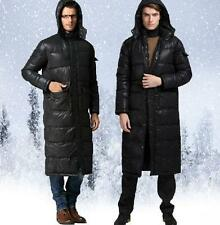 Mens Long Duck Down Coat hooded thicken Warm Winter Parka jacket overcoat black