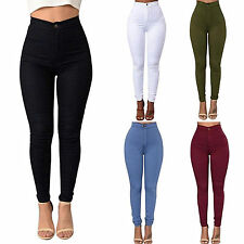 Womens Stretch Pencil Pants Casual High Waist Skinny Leggings Treggings Jeggings