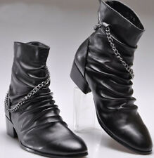 Mens High top Casual Punk Rock New Pointed Toe Chains Zipper Ankle Boots Shoes