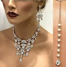 Rose gold Crystal Pearl Bridal Necklace Earrings Wedding Jewelry Set