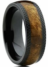 Dome Black Titanium Wedding Band Ring with Real Marble Brown Wood Inlay New