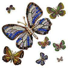 Vintage Alloy Rhinestone Crystal Butterfly Brooch Broach Pin for Wedding Party