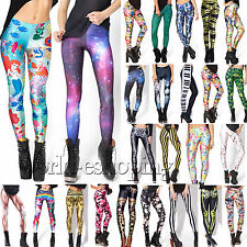 Womens Printed Skinny Slim Leggings Stretch Pencil Pants Sport Fitness Trousers